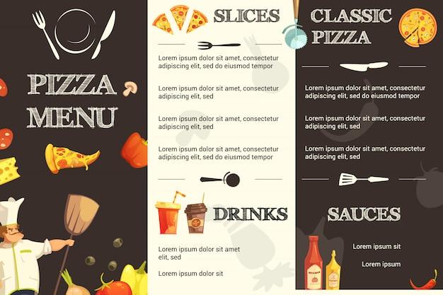 レストランとピザ屋のメニューテンプレート 無料ベクター