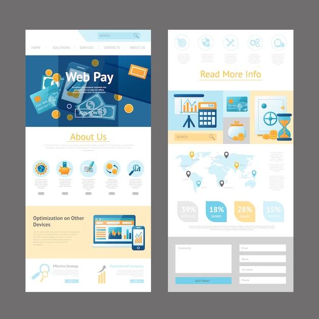 ウェブサイトデザインページのテンプレート 無料ベクター