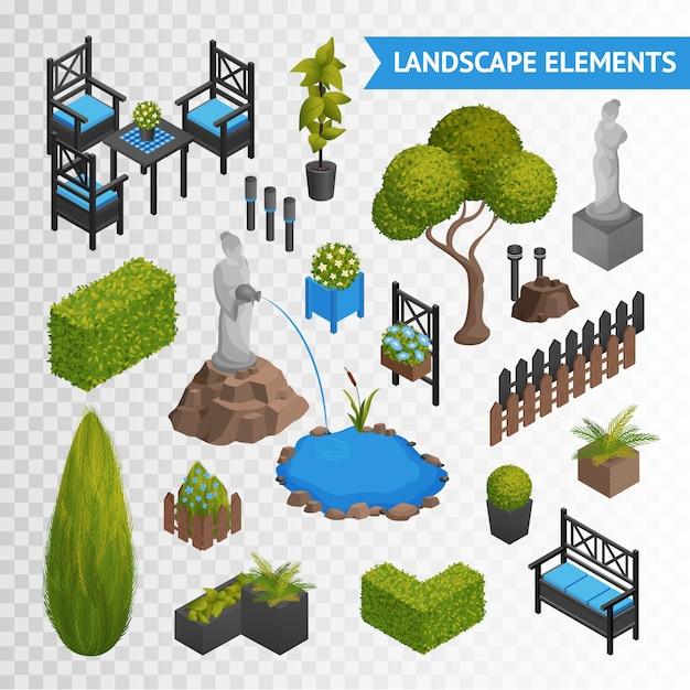 ガーデンパーク要素トランスペアレントセット 無料ベクター