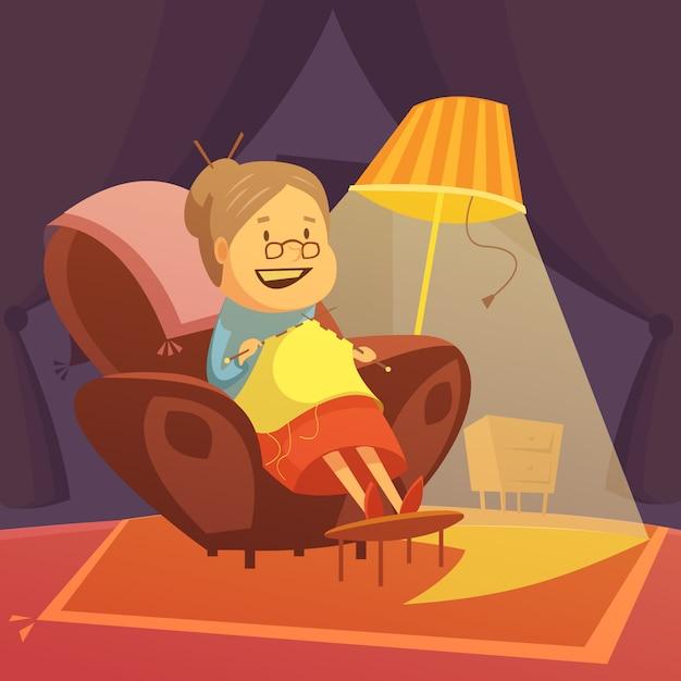 祖母は肘掛け椅子に編み物 無料ベクター