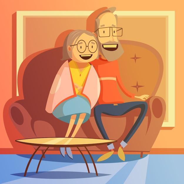 Пожилая пара сидит на диване Бесплатные векторы