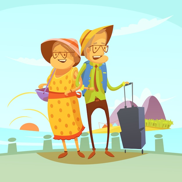 年配のカップル旅行の背景 無料ベクター