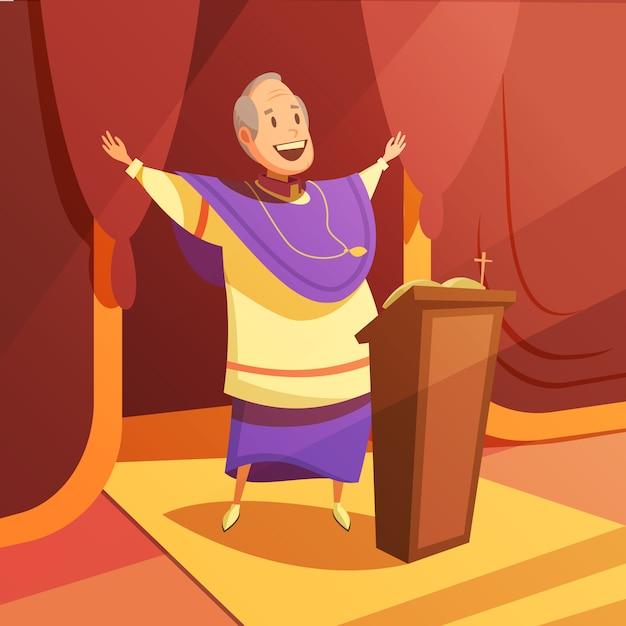 教皇と教会の漫画の背景に宗教と信仰のシンボル 無料ベクター