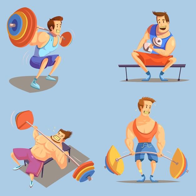 Тренажерный зал мультфильм иконки с символами тяжелой атлетики на синем фоне Бесплатные векторы