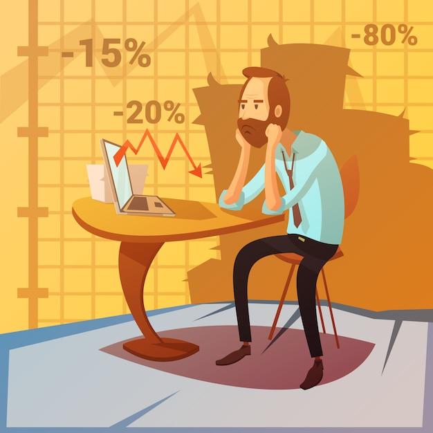 景気後退と減少のシンボルとビジネス障害の背景 無料ベクター