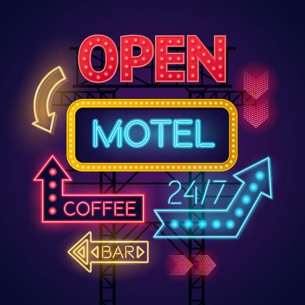 モーテルとカフェのカラフルな光るネオンサインが濃い青の背景に設定 無料ベクター