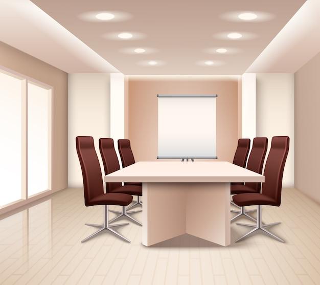 Реалистичный интерьер комнаты для переговоров Бесплатные векторы