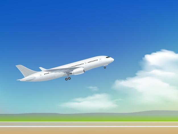 飛行機離陸ポスター 無料ベクター