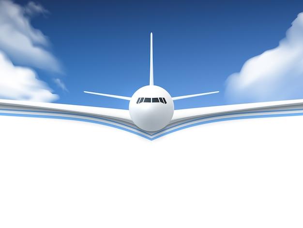 Самолет реалистичный плакат Бесплатные векторы
