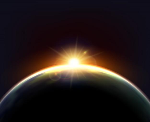 Глобус земля солнечный свет темный фон плакат Бесплатные векторы