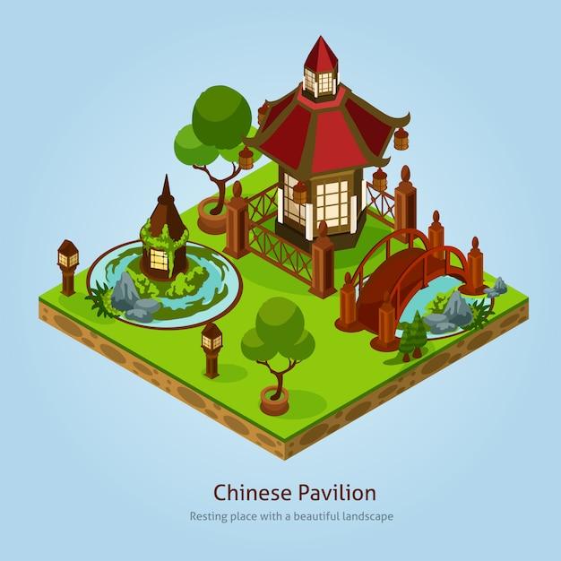 中国のパビリオンランドスケープデザインコンセプト 無料ベクター