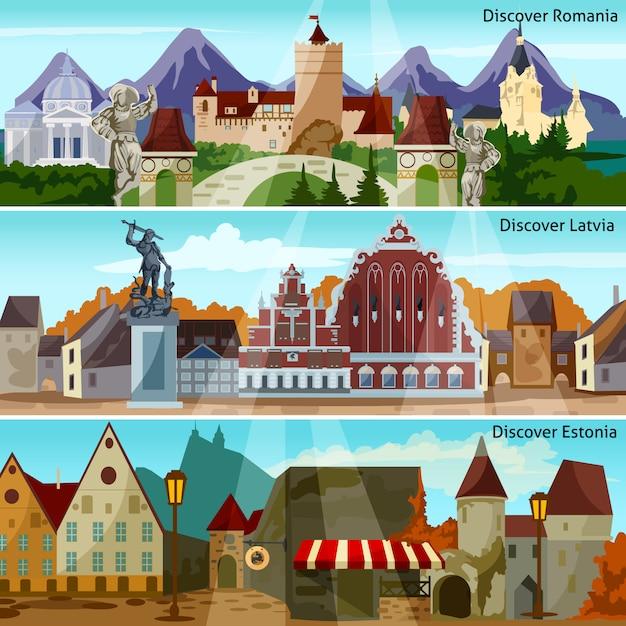 Набор баннеров европейских городских пейзажей Бесплатные векторы