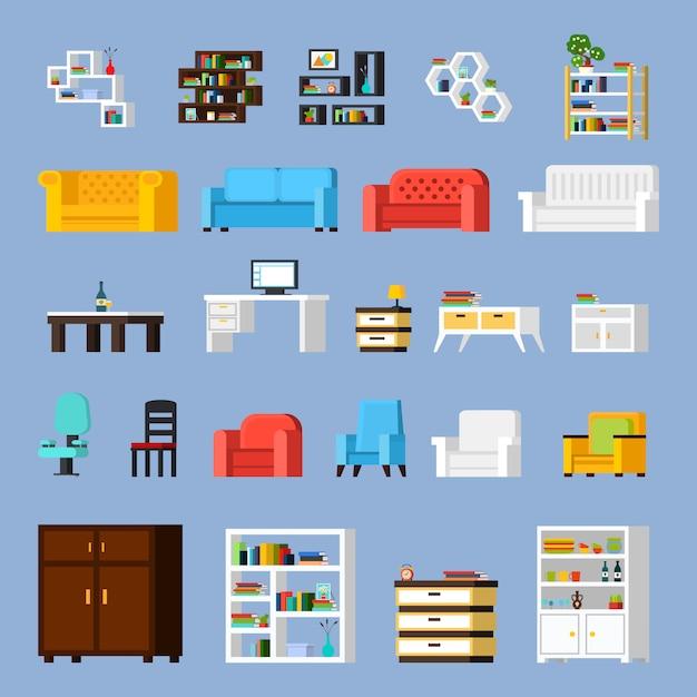 家の家具のアイコンを設定 無料ベクター