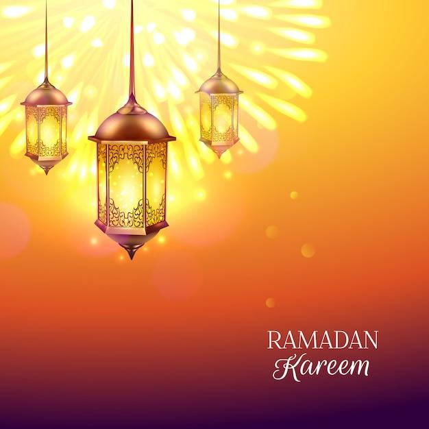 Рамадан фонарь иллюстрация Бесплатные векторы