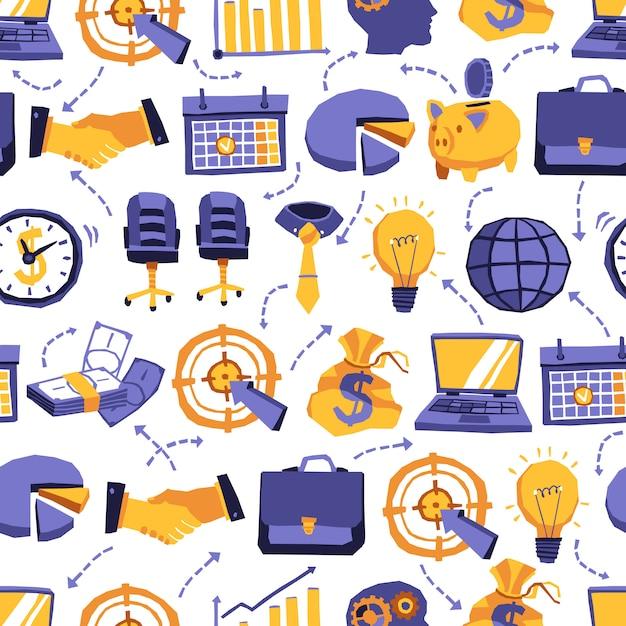 Бесшовные шаблон с элементами бизнеса Бесплатные векторы