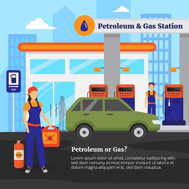 石油とガソリンスタンドの図 無料ベクター