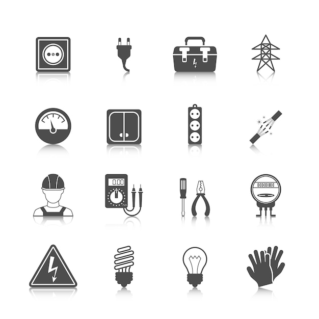 Коллекция иконок электричество Бесплатные векторы
