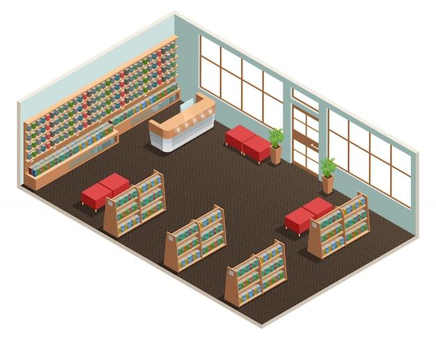 Цвет изометрический дизайн комнаты библиотеки Бесплатные векторы
