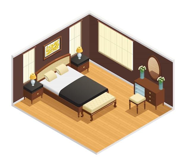 Изометрические роскошный интерьер для спальни с двуспальной кроватью Бесплатные векторы