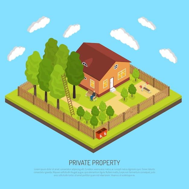 私有財産境界フェンス等角投影図 無料ベクター