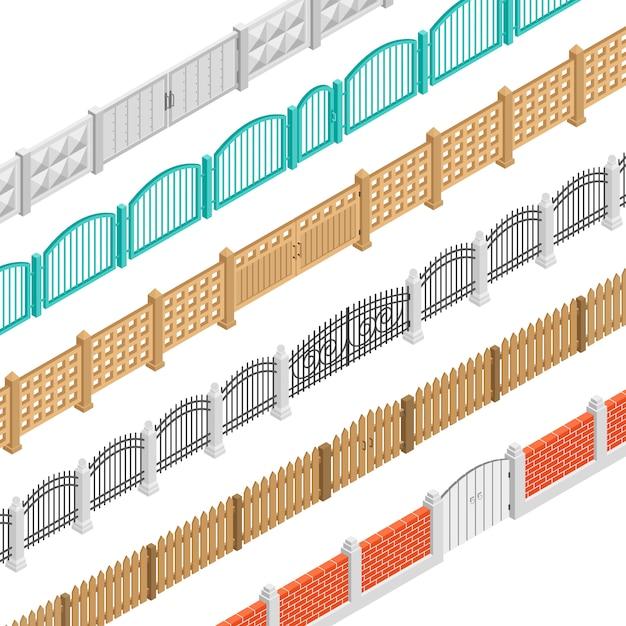 フェンスとゲート等尺性要素 無料ベクター