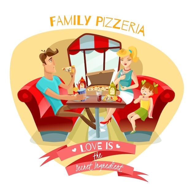Семейная пиццерия векторная иллюстрация Бесплатные векторы