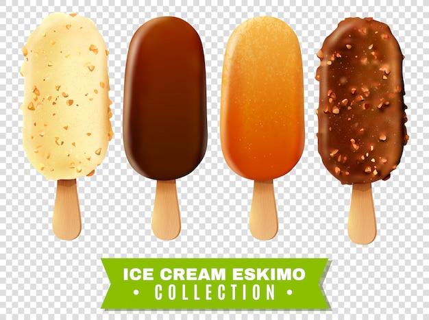 アイスクリームエスキモーパイコレクション 無料ベクター