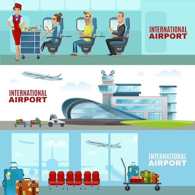 Международный аэропорт горизонтальные баннеры Бесплатные векторы
