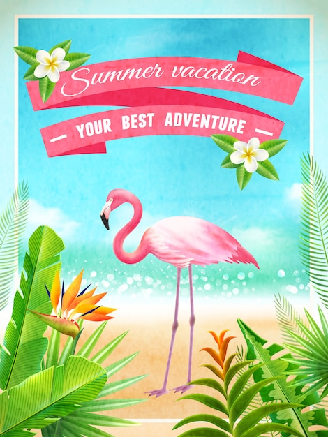 フラミンゴ鳥エキゾチックな夏休みポスター 無料ベクター