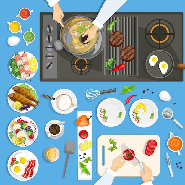 キッチンの料理と道具 無料ベクター
