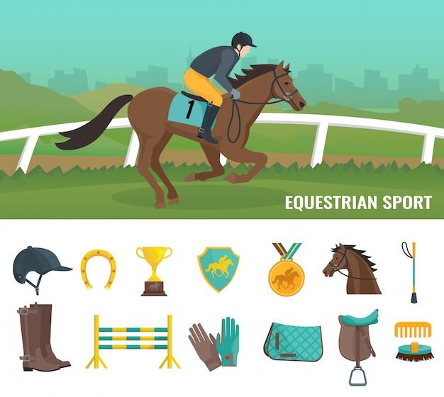 Набор цветных плоских иконок, показывающих оборудование жокей и конный спорт Бесплатные векторы