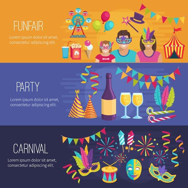 Горизонтальные цветные плоские баннеры с изображением элементов карнавальной веселой вечеринки Бесплатные векторы