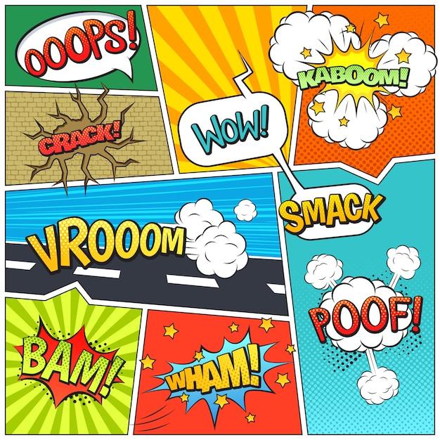 Страница книги комиксов пузыри композиция печать Бесплатные векторы
