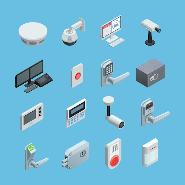 Комплект элементов системы домашней безопасности Бесплатные векторы