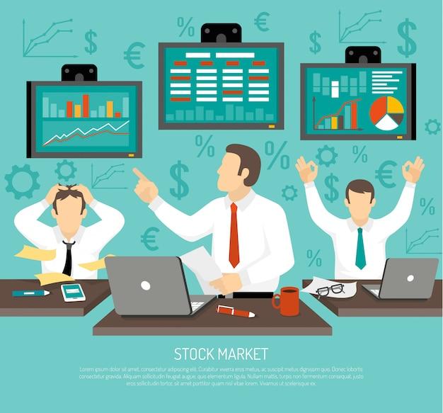 Иллюстрация трейдера фондового рынка Бесплатные векторы