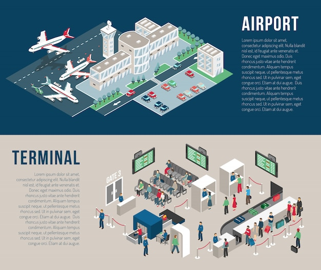 空港等尺性水平方向のバナー 無料ベクター