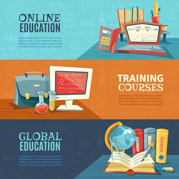 教育オンラインコースバナーセット 無料ベクター