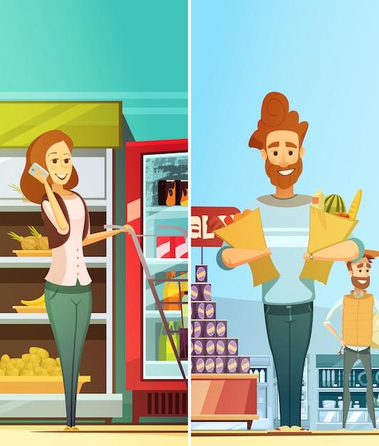 スーパーマーケットのショッピングレトロな漫画垂直バナー食品を購入する幸せな顧客と設定 無料ベクター
