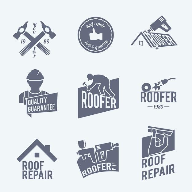 Ремонт крыши коллекция шаблоны логотипов Бесплатные векторы