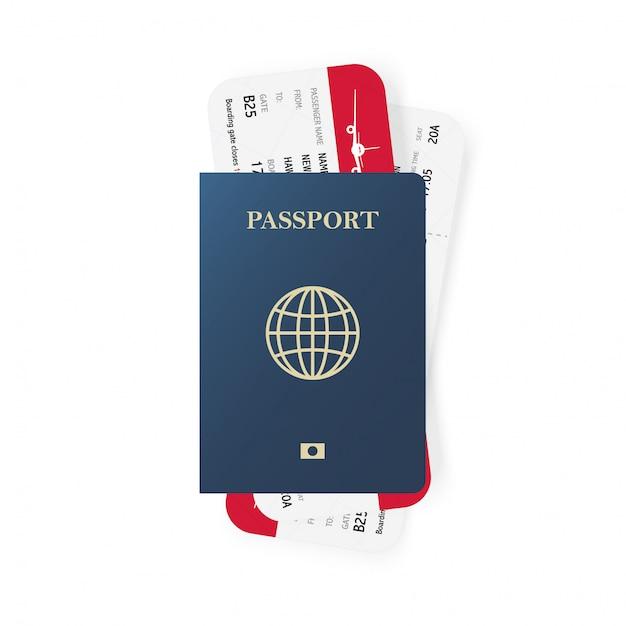青いパスポートと搭乗券のチケット。 Premiumベクター