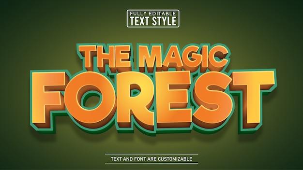 Редактируемый текст с названием «волшебный лес» и мультфильм Premium векторы