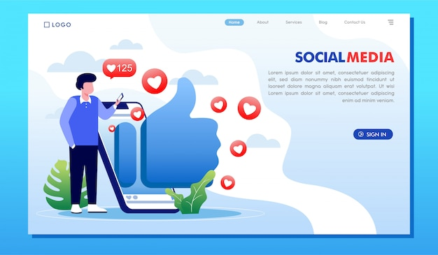ソーシャルメディアのオンラインインフルエンサーウェブサイトのランディングページ Premiumベクター