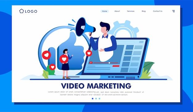ビデオマーケティングのランディングページのウェブサイトイラストベクターデザイン Premiumベクター
