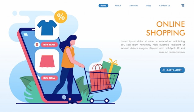 Легкий интернет-магазин целевой страницы в плоском стиле Premium векторы