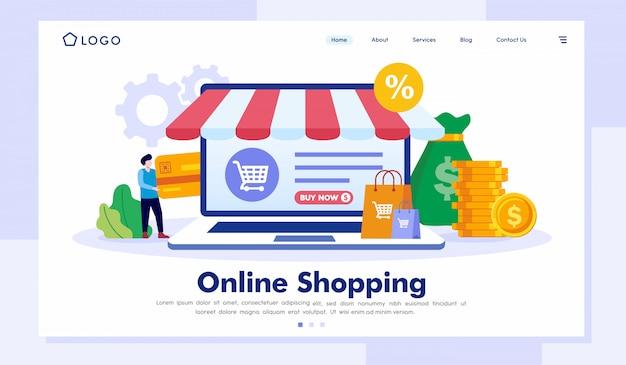 オンラインショッピングのリンク先ページのウェブサイトベクトルテンプレート Premiumベクター