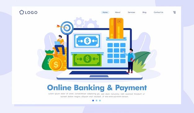 オンラインバンキング&支払いランディングページウェブサイトベクトルテンプレート Premiumベクター