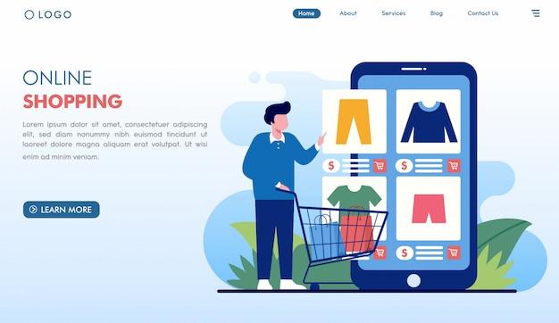Интернет-магазин заказ модной целевой страницы в плоском стиле Premium векторы