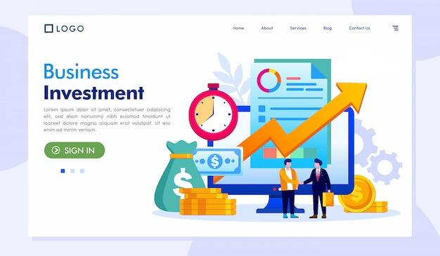 ビジネス投資着陸ページのウェブサイトイラストベクトル Premiumベクター