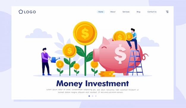 お金投資のランディングページのウェブサイトの図 Premiumベクター