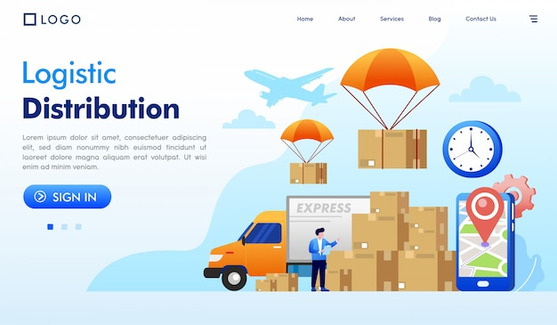 ロジスティック分布のランディングページのウェブサイトイラスト Premiumベクター